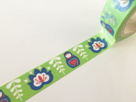 Russian matryoshka - Washi tape - 15 mm Wide - 10 meters WT787 - CharmTape - 1