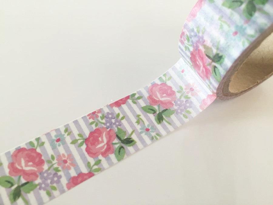 Shabby Chic Roses Washi Tape 20mm x 10m WT866 - CharmTape - 1
