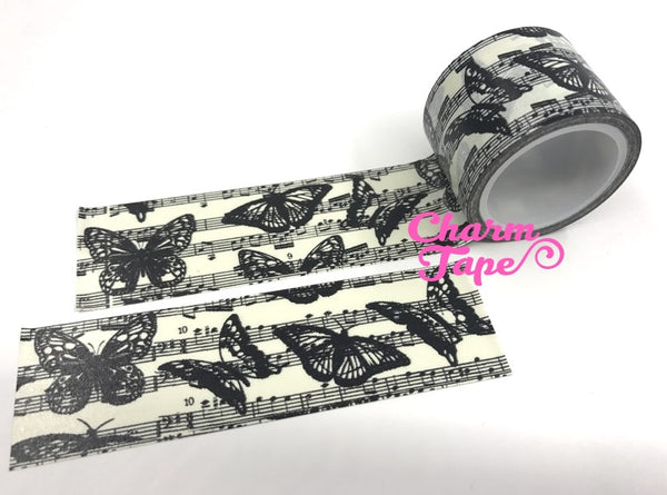 Black Moth & Butterfly Big Washi Tape (30mm x 5m) WT1060