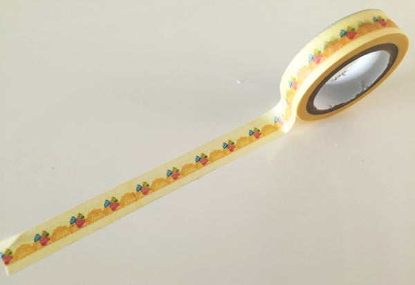 Mini Roses on Yellow lace Washi Tape 11mm x 10m WT869 - CharmTape - 2