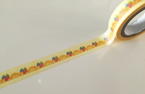 Mini Roses on Yellow lace Washi Tape 11mm x 10m WT869 - CharmTape - 1