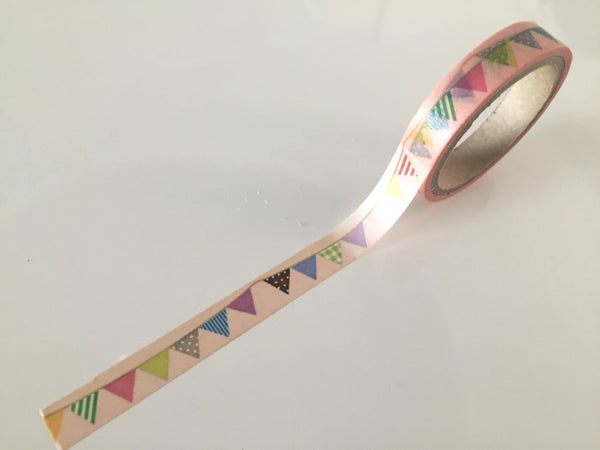 Flag Bunting on pale nude Washi Tape 10mm x 10m WT874 - CharmTape - 2