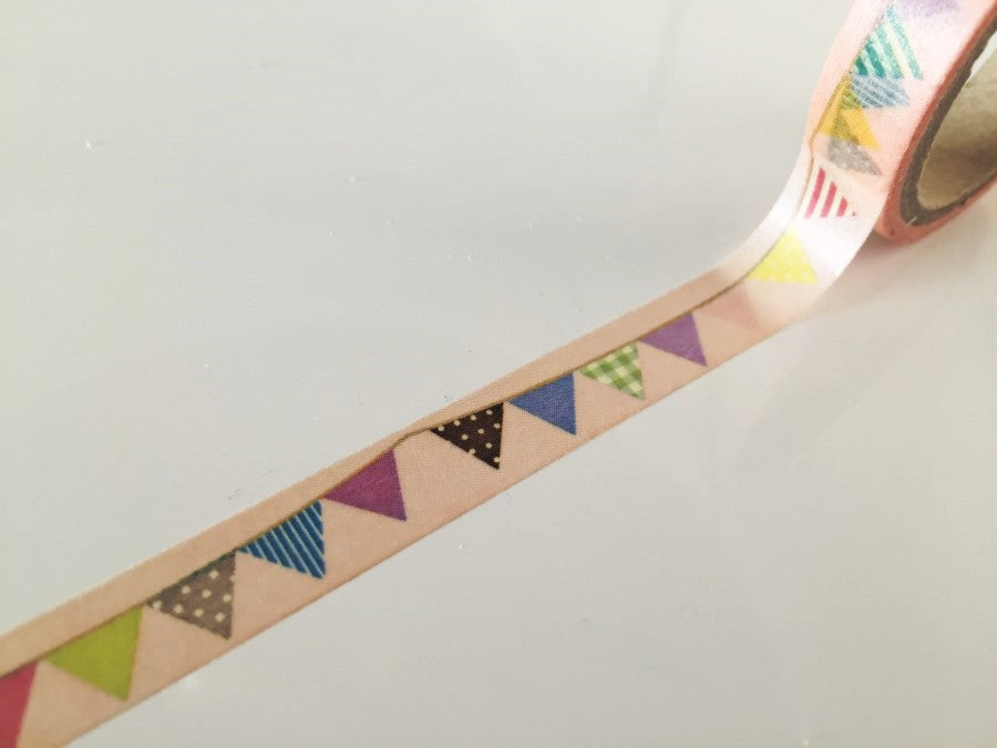 Flag Bunting on pale nude Washi Tape 10mm x 10m WT874 - CharmTape - 1
