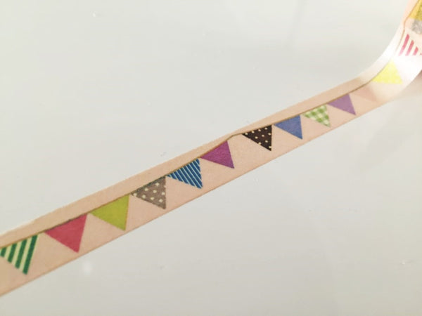 Flag Bunting on pale nude Washi Tape 10mm x 10m WT874 - CharmTape - 3