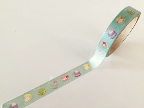 Macaroon cake on pale mint Washi Tape 10mm x 10m WT875 - CharmTape - 2