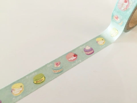 Macaroon cake on pale mint Washi Tape 10mm x 10m WT875 - CharmTape - 1