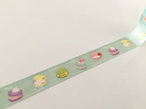 Macaroon cake on pale mint Washi Tape 10mm x 10m WT875 - CharmTape - 3