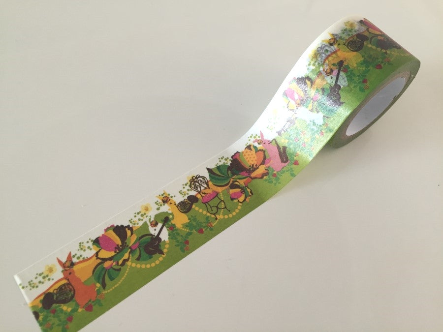 Rabbit & Flower Bomb - Big Washi Tape 30mm x 8 meters WT879 - CharmTape - 1