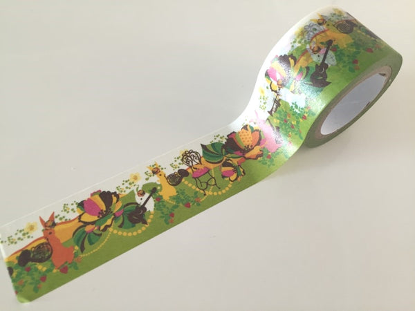 Rabbit & Flower Bomb - Big Washi Tape 30mm x 8 meters WT879 - CharmTape - 2