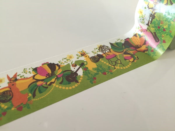 Rabbit & Flower Bomb - Big Washi Tape 30mm x 8 meters WT879 - CharmTape - 3