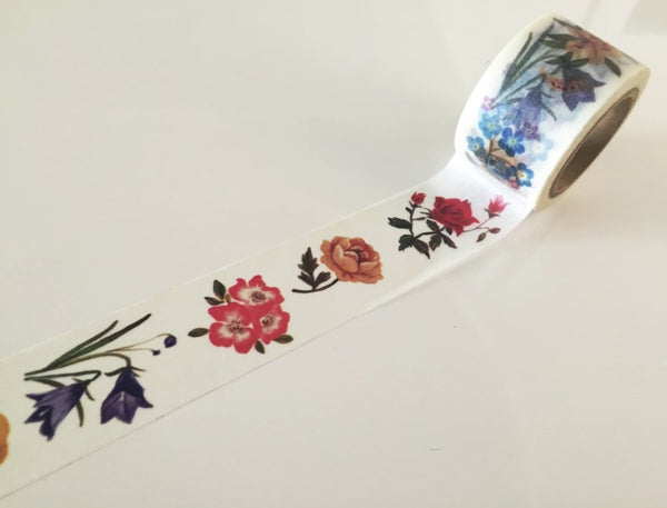 Flowers drawing Big Washi Tape 30mm x 10 meters WT883 - CharmTape - 1