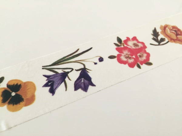 Flowers drawing Big Washi Tape 30mm x 10 meters WT883 - CharmTape - 2
