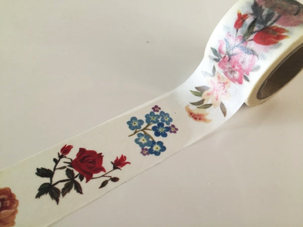 Flowers drawing Big Washi Tape 30mm x 10 meters WT883 - CharmTape - 3