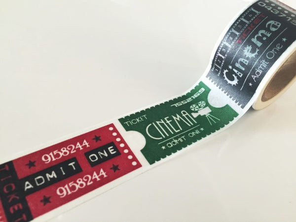 Vintage Cinema Ticket Big Washi Tape 30mm x 10 meters WT885 - CharmTape - 1