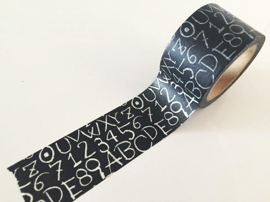 Numbers & Alphabet Chalkboard Design Big Washi Tape 30mm x 10 meters WT889 - CharmTape - 1