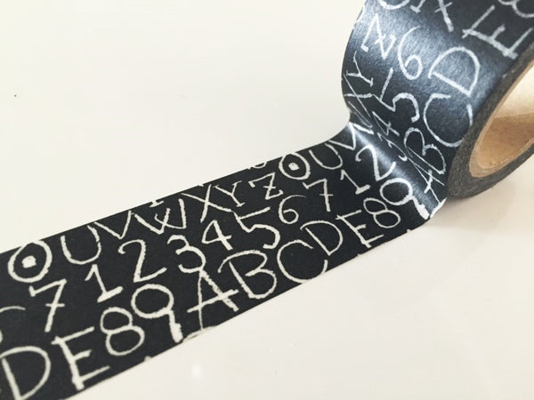 Numbers & Alphabet Chalkboard Design Big Washi Tape 30mm x 10 meters WT889 - CharmTape - 2