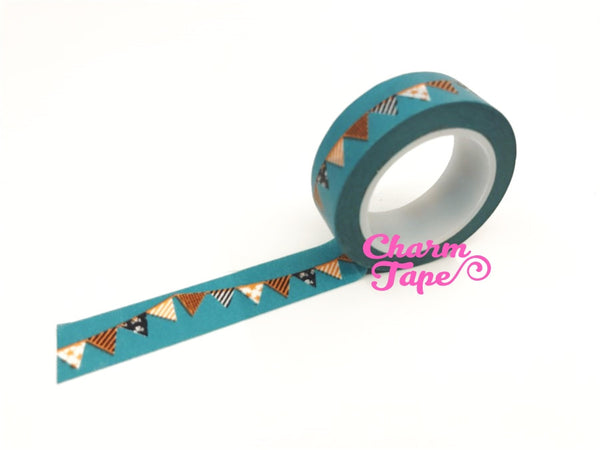 Teal Bunting Flags Washi tape - 15 mm Wide - 10 meters WT696
