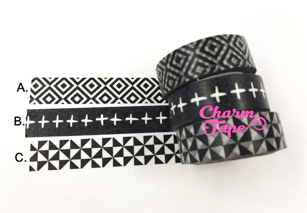 Black & White Illusion Washi tape 15mm x 10.5 yards
