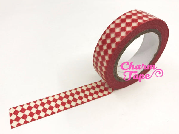 White & Red Diamond Washi Tape 15mm x 10m WT58