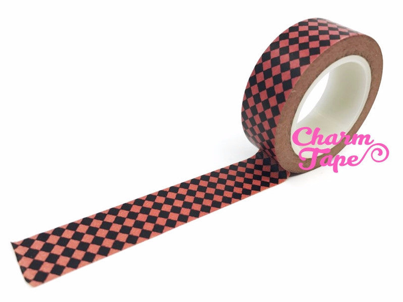 Black & Red Diamond Washi Tape 15mm x 10m WT57