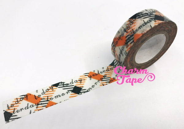 Orange & Black Plaid Washi Masking Tape Roll 15mm x 10 meters WT1079