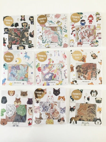 Black Bear Sticker Flakes Set 70 Sheets Mindwave Japan SS905 - CharmTape - 3