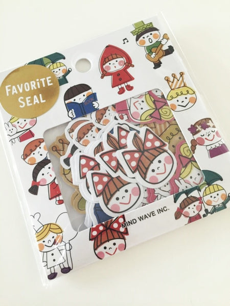 Fairy Tale characters Sticker Flakes Set 70 Sheets Mindwave Japan SS906 - CharmTape - 1