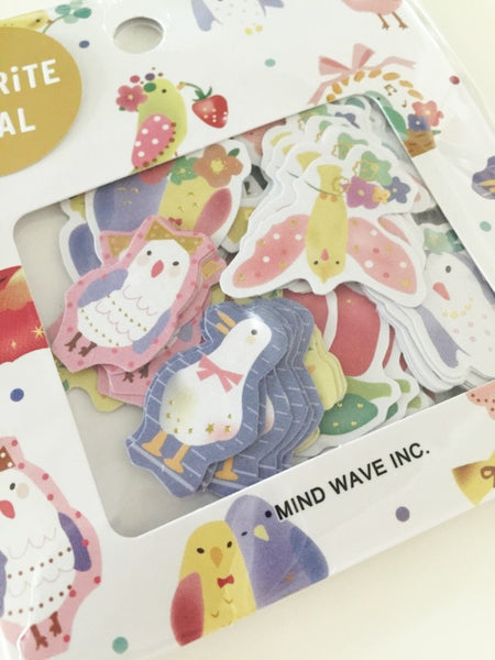 Birds Sticker Flakes Set 70 Sheets Mindwave Japan SS908 - CharmTape - 2