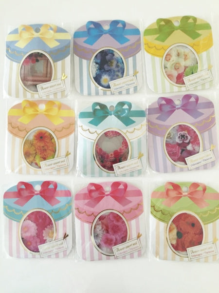 Pink Rose & Peony Flower Sticker Flakes Set 70pieces Mind wave Japan SS919 - CharmTape - 4
