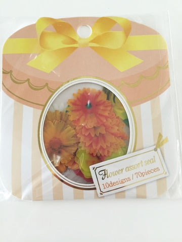 Yellow Sunflower & Daisy Flower Sticker Flakes Set 70pieces Mind wave Japan SS917 - CharmTape - 1