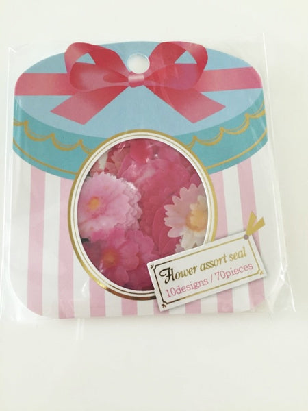 Pink Rose & Peony Flower Sticker Flakes Set 70pieces Mind wave Japan SS919 - CharmTape - 1