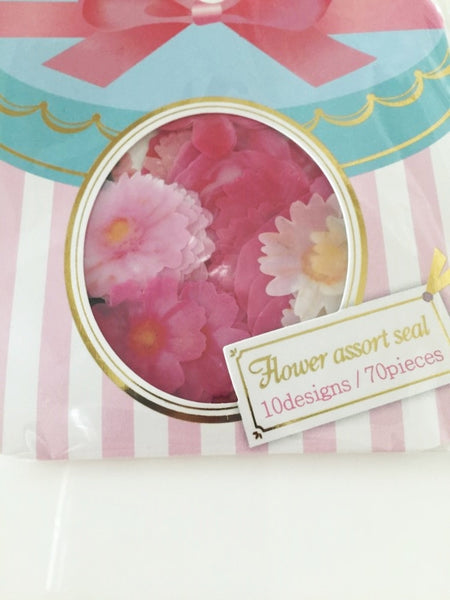 Pink Rose & Peony Flower Sticker Flakes Set 70pieces Mind wave Japan SS919 - CharmTape - 2