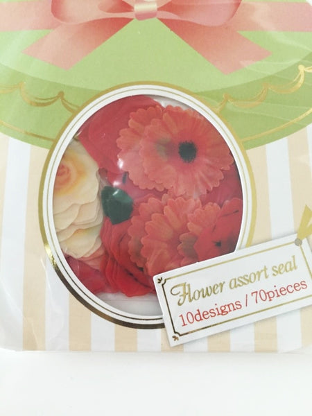 Orange Rose & Sunflower Flower Sticker Flakes Set 70pieces Mind wave Japan SS920 - CharmTape - 2