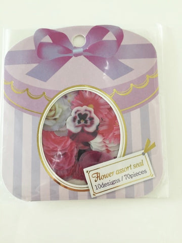 Levander Roses Flower Sticker Flakes Set 70pieces Mind wave Japan SS922 - CharmTape - 1