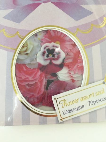 Levander Roses Flower Sticker Flakes Set 70pieces Mind wave Japan SS922 - CharmTape - 2