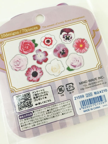 Levander Roses Flower Sticker Flakes Set 70pieces Mind wave Japan SS922 - CharmTape - 3