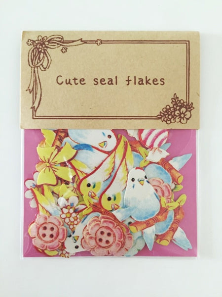 Love Birds Sticker Flake Seals Set 70 pieces SS923 - CharmTape - 3