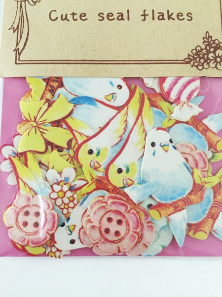 Love Birds Sticker Flake Seals Set 70 pieces SS923 - CharmTape - 4