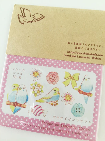 Love Birds Sticker Flake Seals Set 70 pieces SS923 - CharmTape - 5