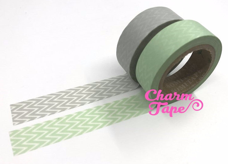 Chevron Washi Tape Full Roll WT239 zigzag grey or mint