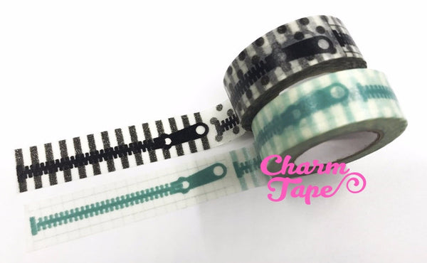 Black / Teal Zip Zipper Washi Tape 15mm x 10 meters WT604