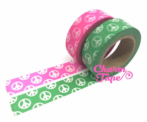 Peace sign Washi Tape Full Roll WT321 Neon pink or green