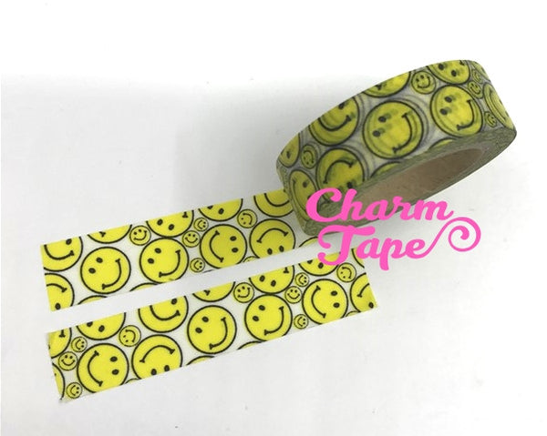 Washi tape - Yellow Smiley face - 15mm Wide - 10meters WT1080