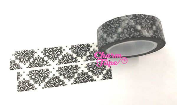 Black & White floral Washi Masking Tape 15mm WT396