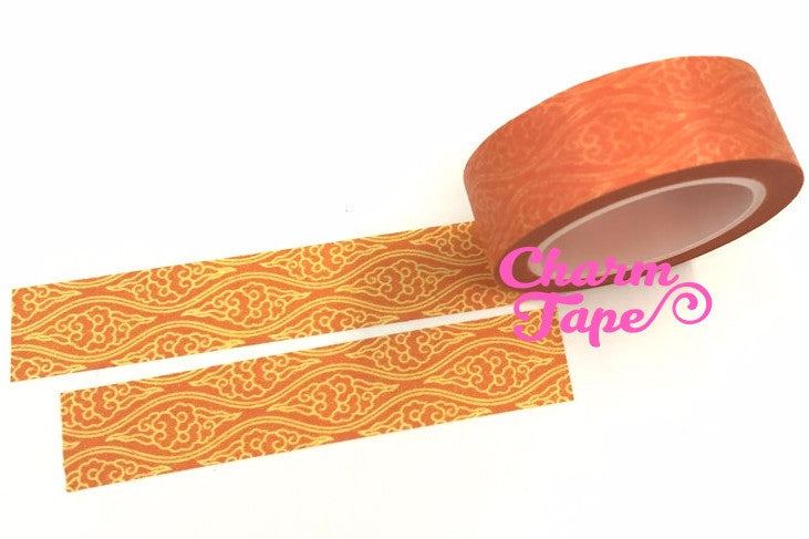 Florals motif on orange Washi Tape 15mm x 11yards WT535
