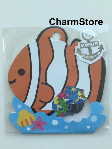 Coral Clown Fish Sticker Flakes Set - 71 Sheets Mindwave Japanese SS456