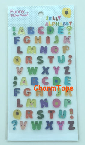 Alphabets stickers Soft Gel 1 Sheets by Funny ss442 - CharmTape - 1