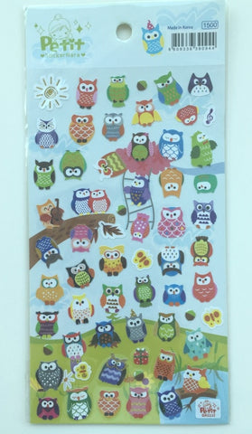 Colorful Owl Petit Deco sticker art stickers 1 Sheets SS467