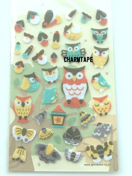 Owl & Moth Felt stickers 1 Sheets by Yeehyun SS469