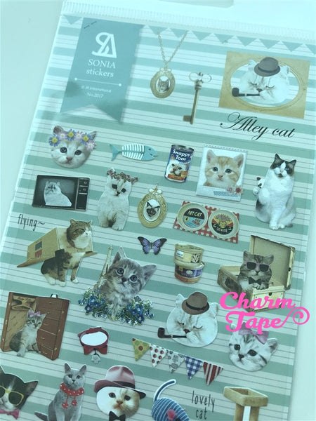 Grey Cat Kitten stickers by Sonia 1 Sheets SS558